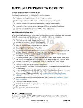 Hurricane Preparedness Checklist Image Sample